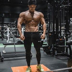 Image 4 - Calças de corrida masculinas de verão, calças esportivas de algodão, macias, musculação, fitness, academia, 5 cores