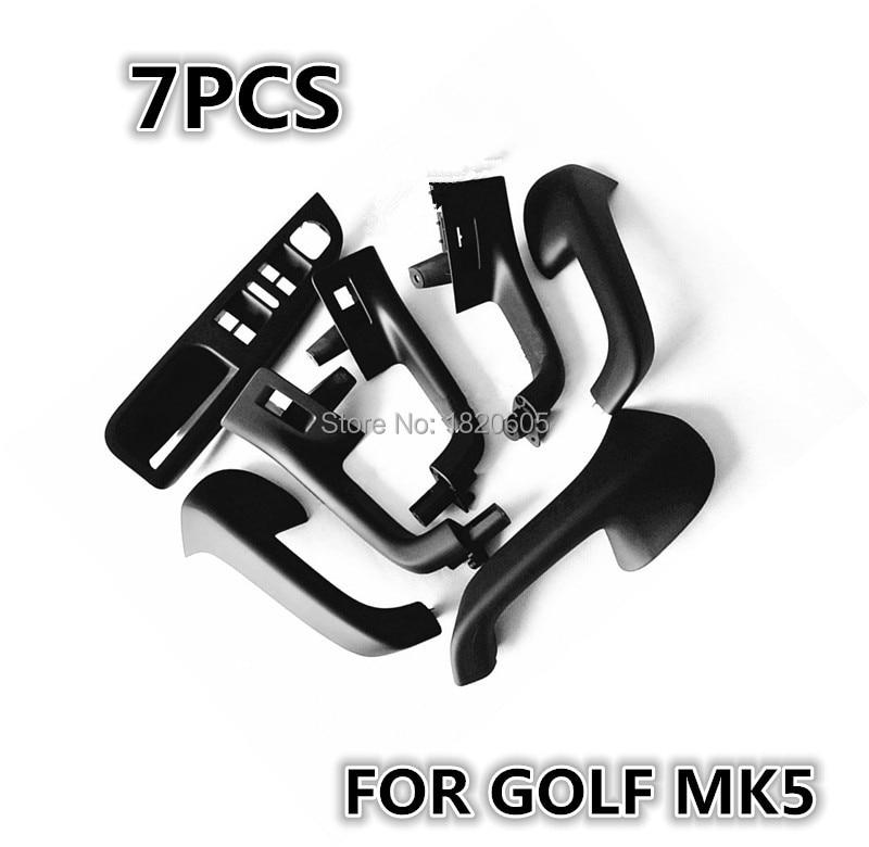 1 Set 7Pcs High Quality Black Interior Door Handle Armrest handle For VW Golf 5 GTI MK5 MK5 Jetta Sagitar
