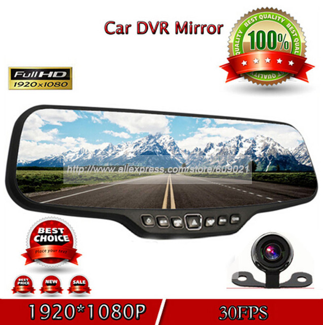 "1080P FHD 4.3"" LCD Dual Lens car camera recorder vehicle rearview mirror DVR  H.264 video dash cam blackbox G-sensor"