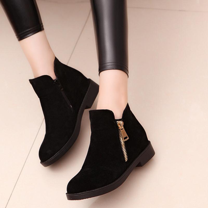 KaiziKarzi Women Flats Boots Zipper Winter Warm Ankle Boots Fashion Simple Ladies Shoes Round Toe Ladies Short Boots Size 35-39 6