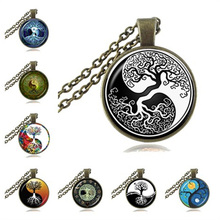 Yin Yang Pendant Tree of Life Necklace Glass Cabochon Jewelry Zen Symbol Statement Necklace Long Sweater Chain Tai Chi Neckless