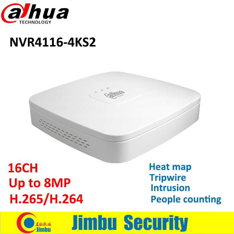 Dahua 16CH people counting 4K&H.265 NVR NVR4116-4KS2 Up to 8MP Resolution support heat map,intrusion video recorder Smart 1U