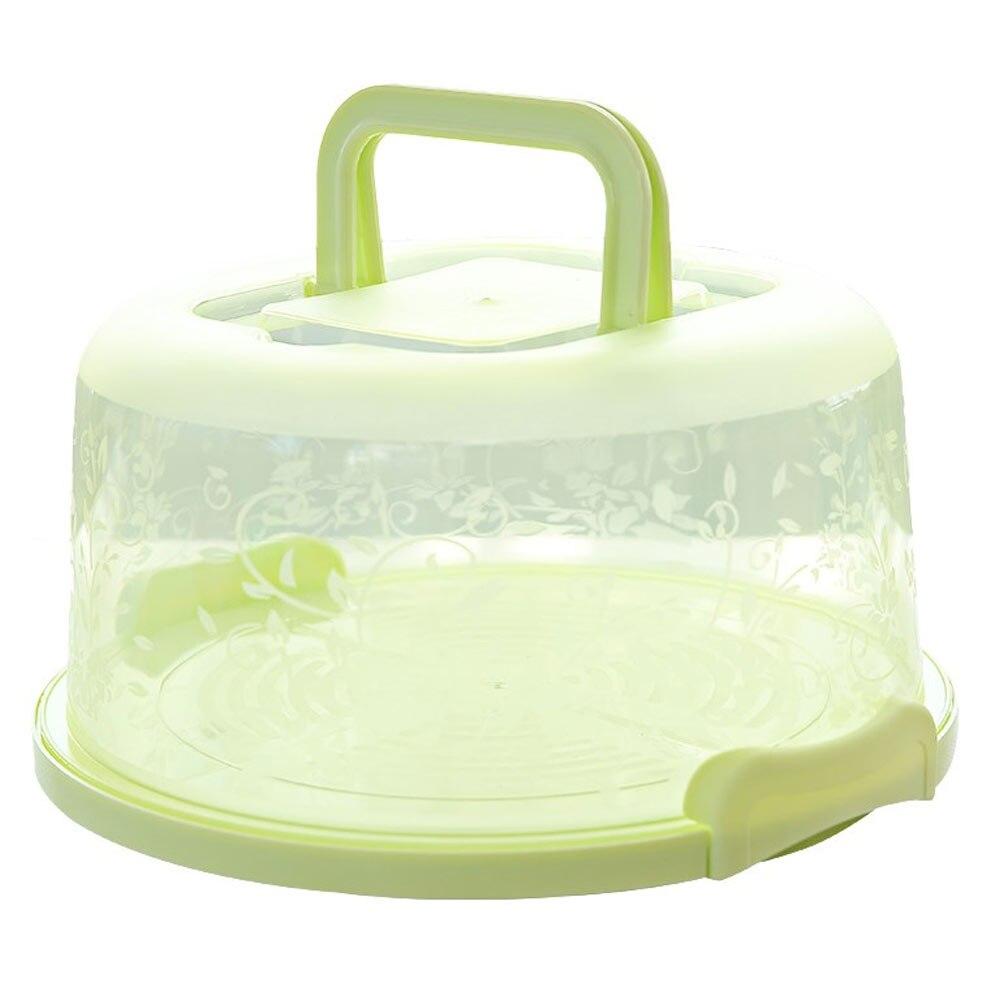 Контейнер для кексов карманная упаковочная прочный круглый коробка для хранения торта портативная кухонная принадлежность пластиковый контейнер для пирога с днем рождения - Цвет: green
