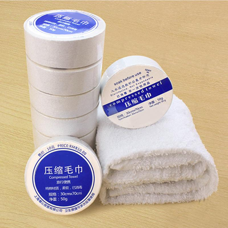 2018 New Space Saving Cotton Hotels Camping Trip Practical Easy Carry Portable Towels Essential Travel Use Compressed Towels(China)