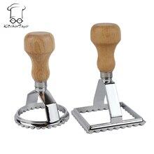 Set von 2 stücke von Platz 7,0 und Runde 6,5 cm Italienischen Pie Cutter Ravioli Stempel Mit Holzgriff