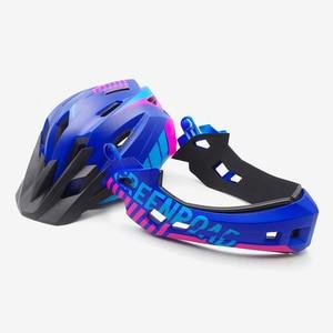 Image 3 - Детский горный велосипедный шлем, Звездный мотоциклетный шлем, на все лицо, для езды на горном велосипеде, детский козырек, красный цвет