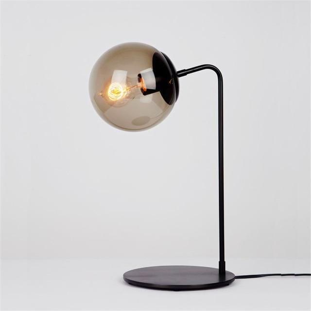 Beautiful Black Metal Modern Glass Ball Table Lamp Bedroom Global Lampshades Nordic  Office Desktop Bedside Decorative Desk