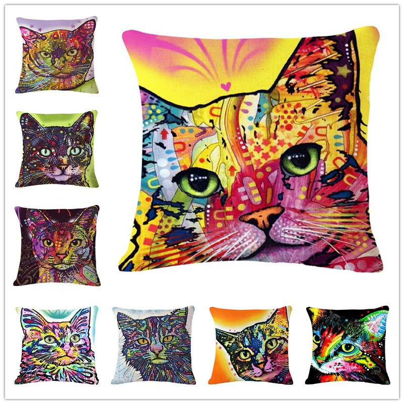 Cat Printed High Qulity Cotton Linen Decorative Cushion Cover Pillow Case Car Seat 45*45cm Pillowcase