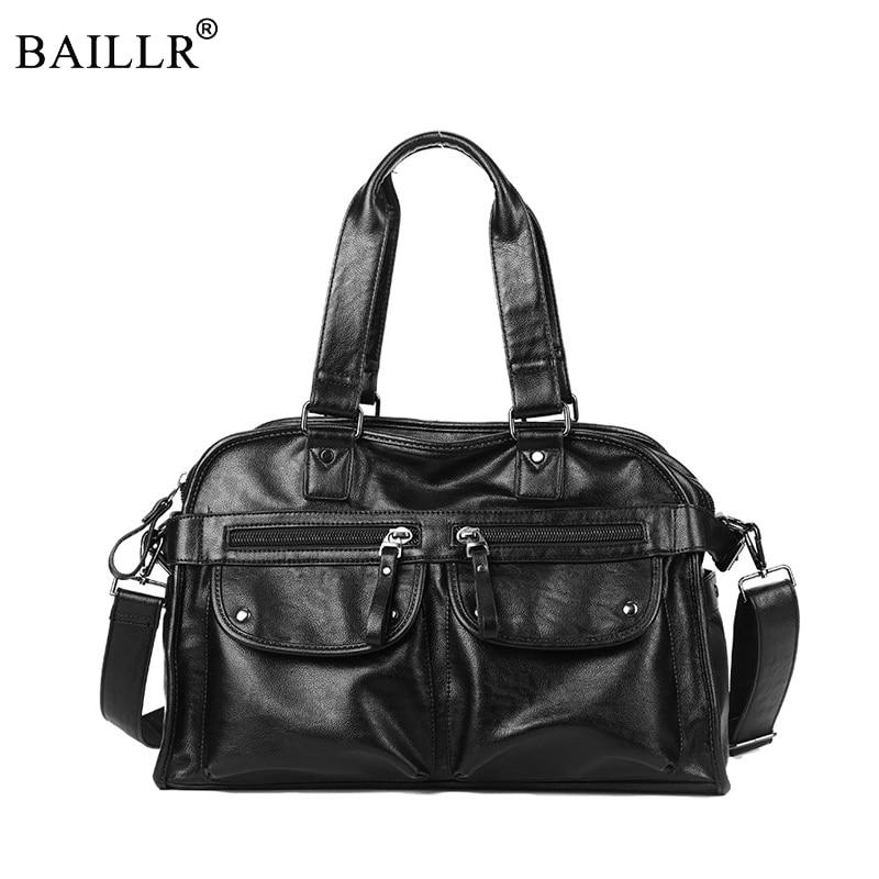 2018 New Fashion Multi-Function PU Leather Travel Bag Men's Luggage Duffle Bag Casual Large Tote Weekend Bag Zipper Tote Handbag square pu tote bag