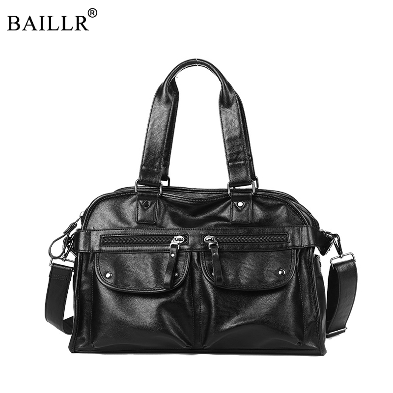 2019 New Fashion Multi Function PU Leather Travel Bag Men's Luggage Duffle Bag Casual Large Tote Weekend Bag Zipper Tote Handbag