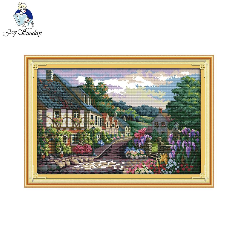 Joy Sunday The Mediterranean Scenery (2) Counted or Printed 14CT 11CT Cross Stitch Kits Embroidery Needlework Sets Home Decor image