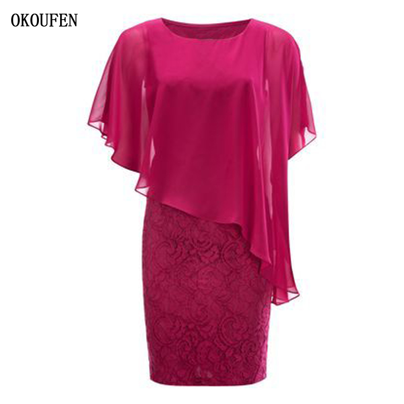 Mother Of The Bride/Groom Dresses 2019 Fuchsia Capelet Knee Length Short Lace Chiffon Summer Kurti Vestidos De Madrinha Farsali