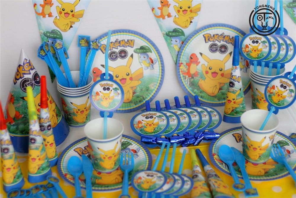 130pcs Cartoon Anime Pokemon Go Pikachu Kids Birthday Decoration Set Theme Party Supplies Baby Birthday Party Pack