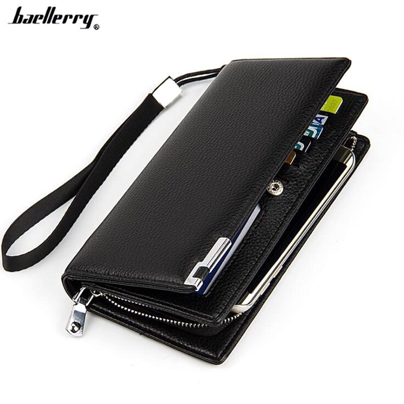 Famous brand baellerry Business Men's leather wallet with coin pocket phone case for man card holder purse male clutch bag baellerry man wallets portefeuille homme card holder coin pocket cuzdan rfid male cuzdan purse clutch short purse with 6 styles