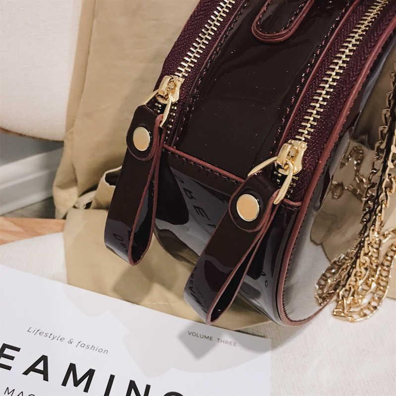 fe6374308e7 Mini Small Round Bag Women Patent Leather Handbags Women Tote Bag Designer  Chain Rivet Shoulder Messenger Crossbody Female Bags