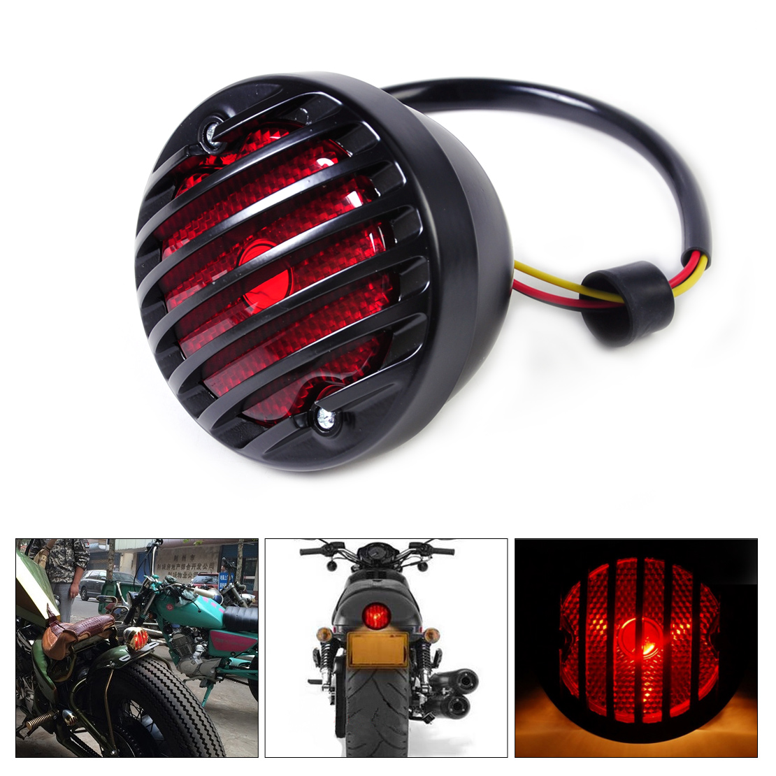 DWCX Motorcycle Ribbed Round Tail Brake Light Lamp For Harley BMW Honda Suzuki Yamaha Kawasaki Custom Bobber Chopper Scooters
