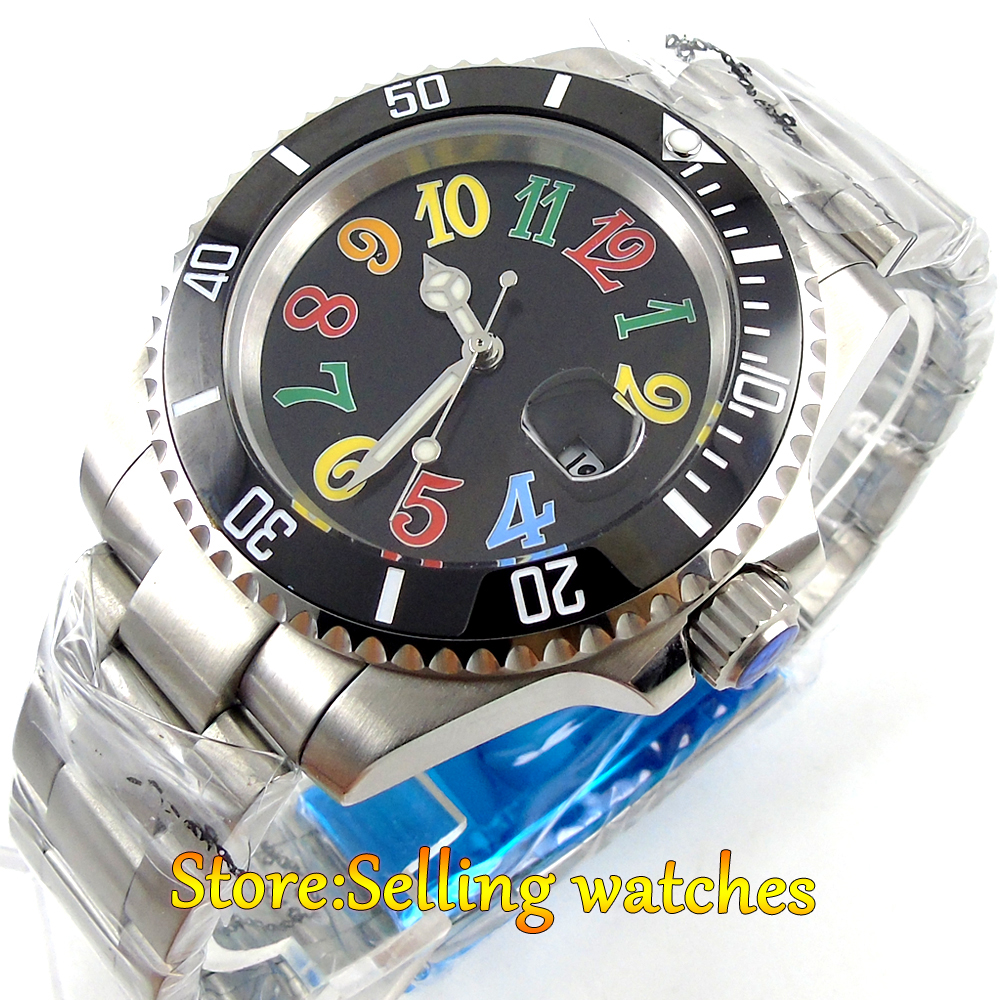 40mm parnis black dial sapphire glass date window automatic mens watch 40mm parnis white dial vintage automatic movement mens watch p25