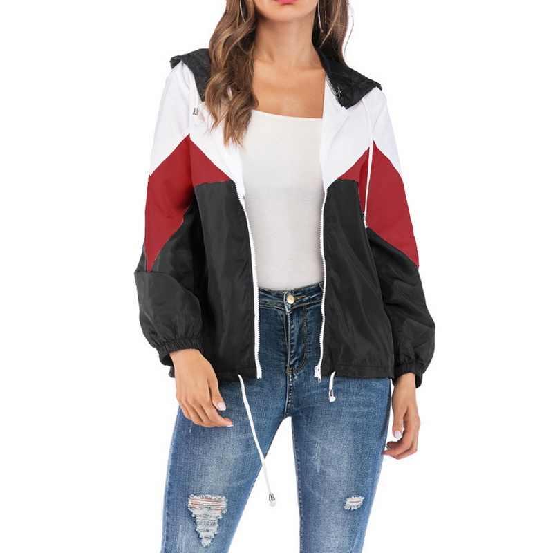 LITTHING Женские базовые куртки женские с карманами на молнии повседневные пальто с длинными рукавами осенняя куртка с капюшоном двухцветная ветровка куртка