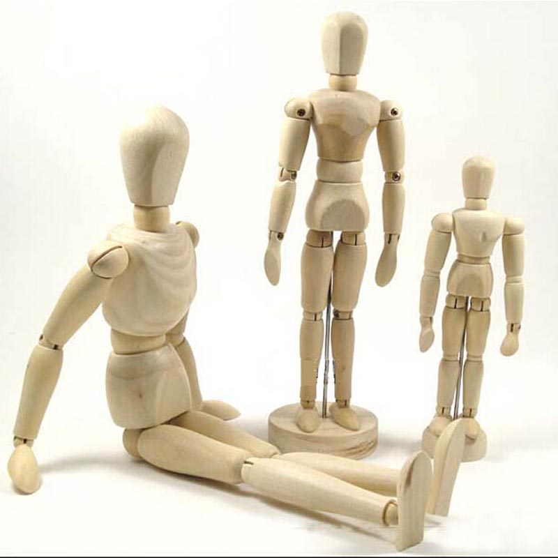 WOODEN 5.5 Inches Tall Wooden Human Mannequin Movable Limbs Human Artist Model Wooden Manikin Drawing Mannequin Model W059&3