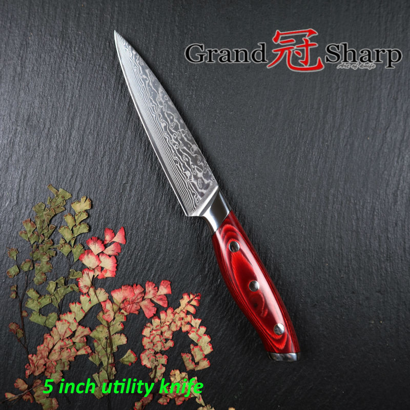 GRANDSHARP 5 Inch Utility Knife 67 Layers Japanese Damascus Stainless Steel VG 10 Core Cooking Tools