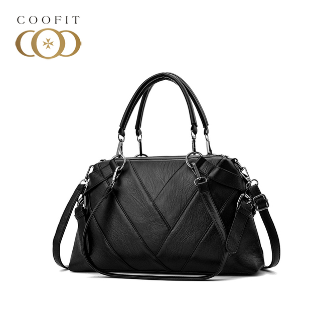 33415f3bed coofit 6 Colors Girl s Shoulder Bag Retro PU Leather Exquisite Women Tote  Handbag Large Capacity For Office Lady Dames Tassen