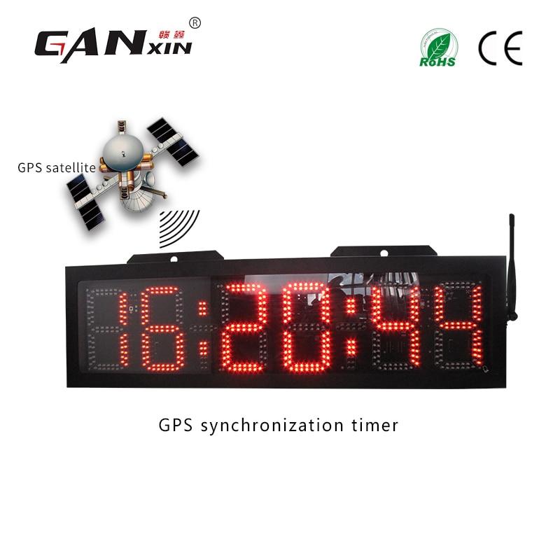 [GANXIN] 8 дюймов 6 цифр Двусторонняя gps синхронизации большой напольный настенные часы RTC водонепроницаемый реального времени часы