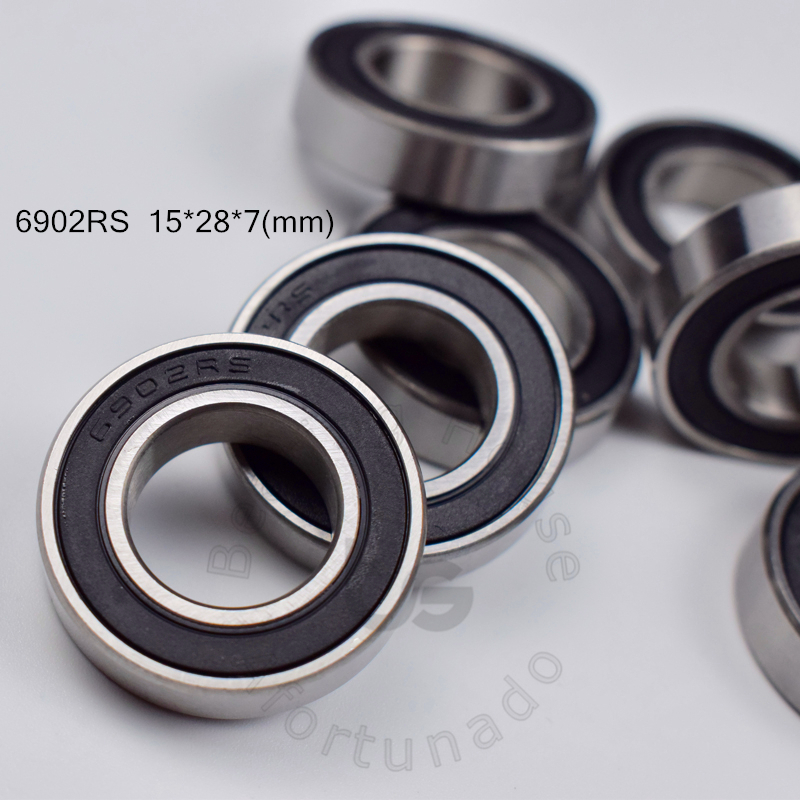 6902RS 15*28*7(mm) 10pieces Bearings ABEC-5 Rubber Sealed Bearing Thin Wall Bearing 6902 Chrome Steel Bearing