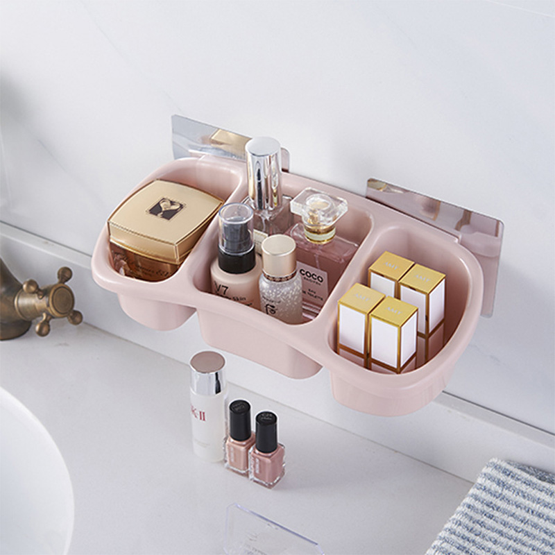 3Squares New Multi Function Soap Rack Bathroom Wall Hanging Plastic Shelf Strong High Quality Storage Basket Economic Organizer