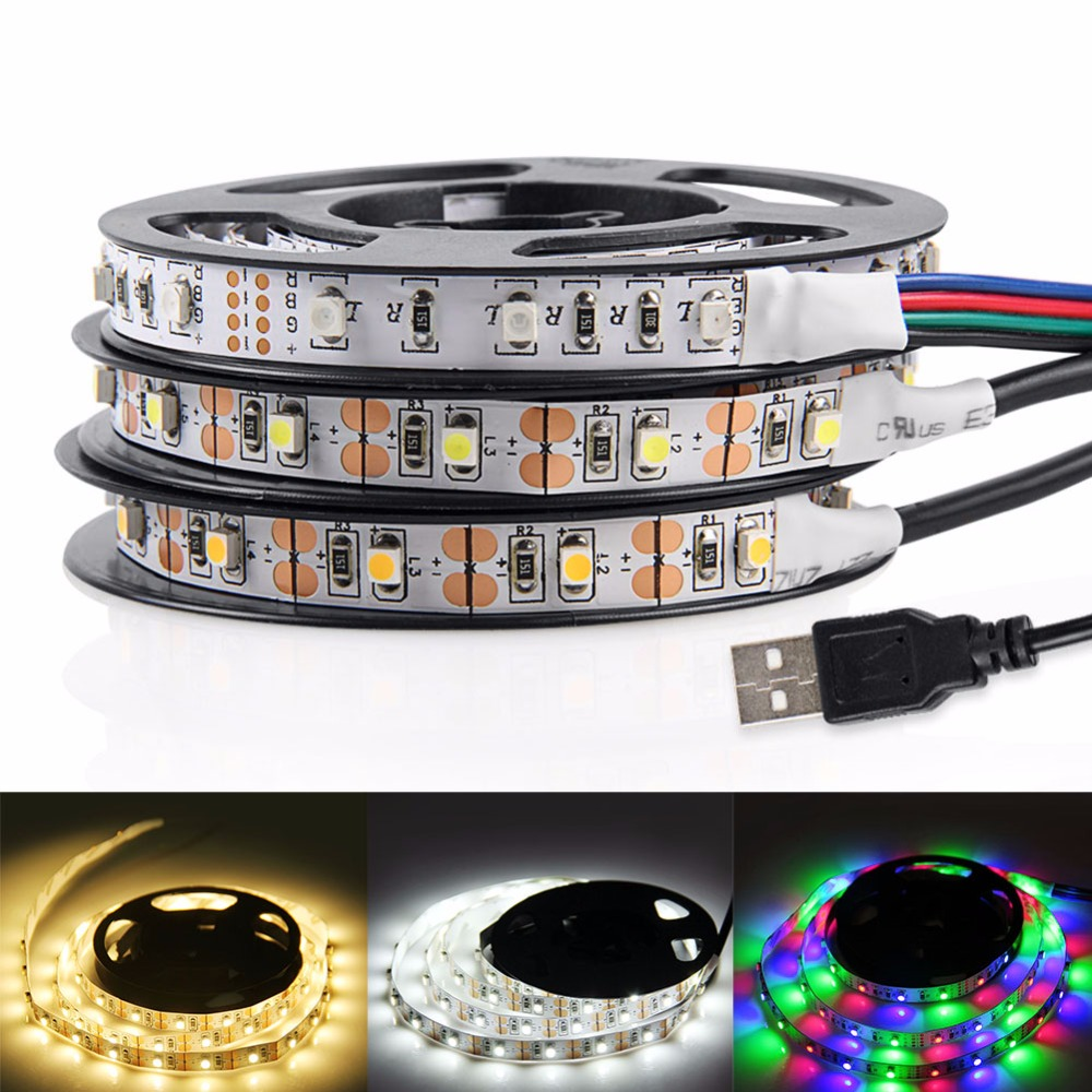USB LED Strip Light 3528 RGB LED Strip Flexibel Ribbon LED Tape Med Mini 3 Tangenter 50CM 1M 2M 3M 4M 5M För TV Bakgrundsbelysning