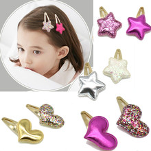 New Arrival Style Metal Color Children Shiny Star Hairgrips Baby Hairpins Girls Hair Accessories Heart Star Hair Clip(China)