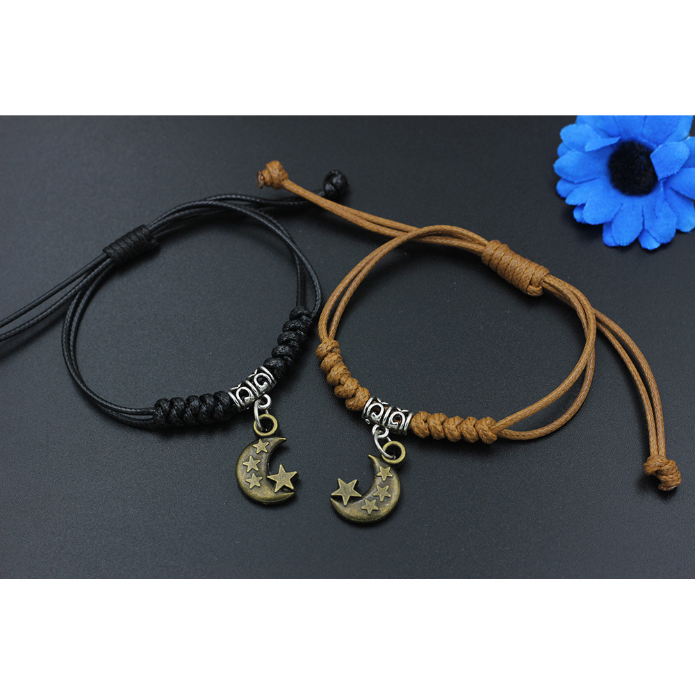 2Pcs/Set Bracelets Weave Couple Trendy Charm Lucky Jewelry Starfish Simple Bangles Moon Star Bicycle Bohemian Heart