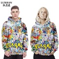 LURRSN Brand Hoodies Plus Size 3XL 3D Digital Printing Cartoon Sweatshirts Women Colorful Round Neck Hooded Couple Set Clothes