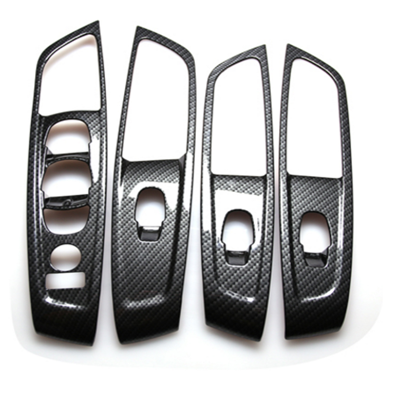 Interior Stainless Steel And ABS Carbon Car Door Window Switch Lift Panel Trim Cover For Renault Koleos For Samsung QM6 LHD 2017