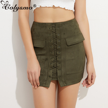 Colysmo Vintage High Waist External Pocket Tight Suede Lace Up Skirt Thick Women's Autumn Winter Pencil Skirt Preppy Mini Skirt