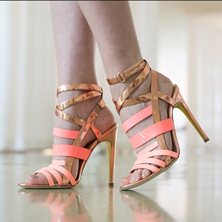 Hot selling contrast color ankle buckle strap crisscross stiletto heel sandals fashion elegant rose red high heel sandals