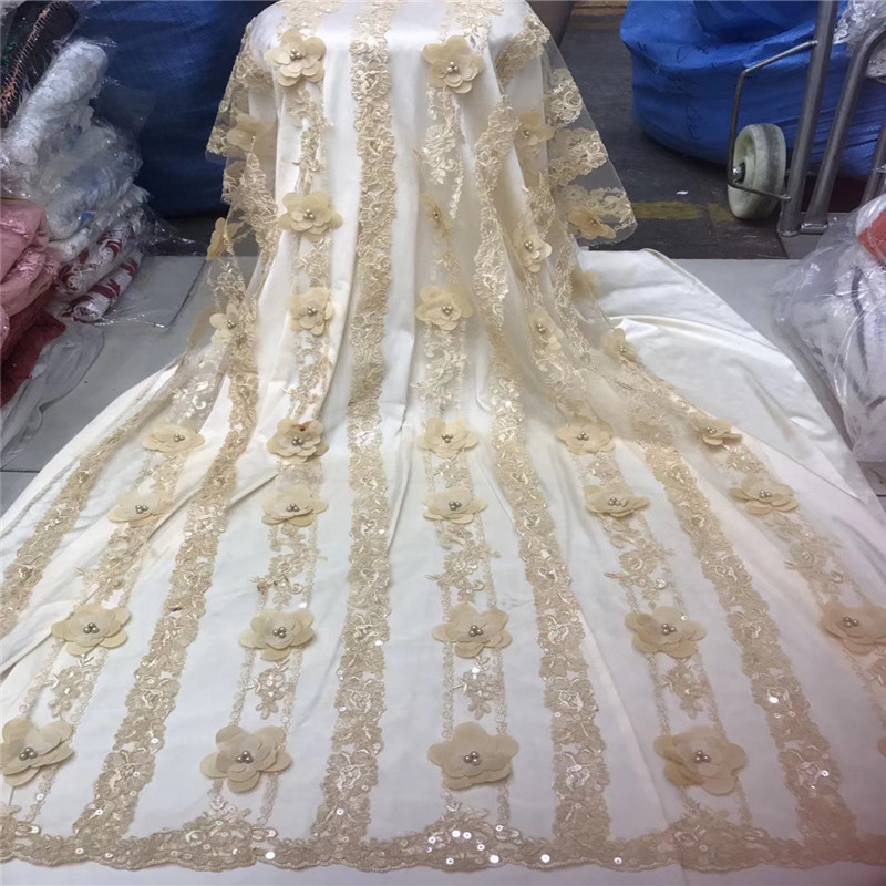 Most Popular High Quality Party Dress Beaded Lace 5 Yards African 3D Lace Fabric Gold Nigeria