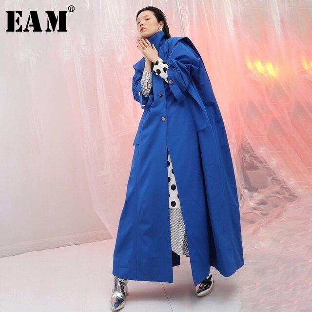 [EAM] 2019 New Spring Stand Full Sleeve Blue Ribbon Button Ruffles Split Joint Long Jacket Women Coat Fashion Tide JF442