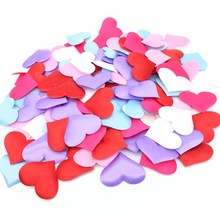 100pcs 3.5cm Gold Fabric Heart Table Confetti Petals Satin DIY Sponge Wedding Throwing Decorations Love Gift Party Supplies
