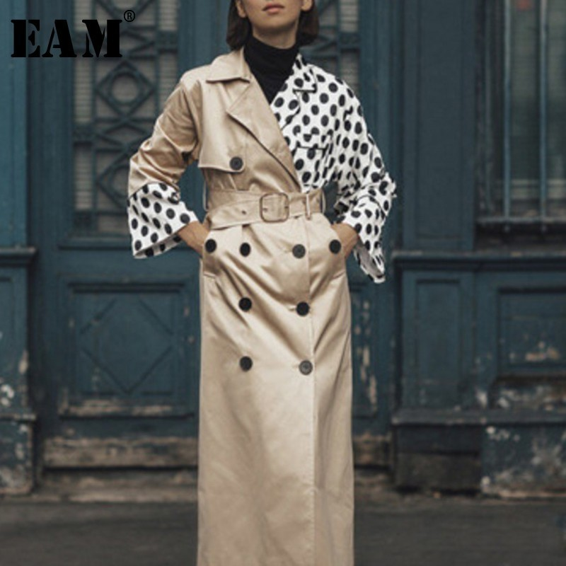 [EAM] Women Khaki Dot Print Split Trench New Lapel Long Sleeve Loose Fit Windbreaker Fashion Tide Spring Autumn 2020 OA7010