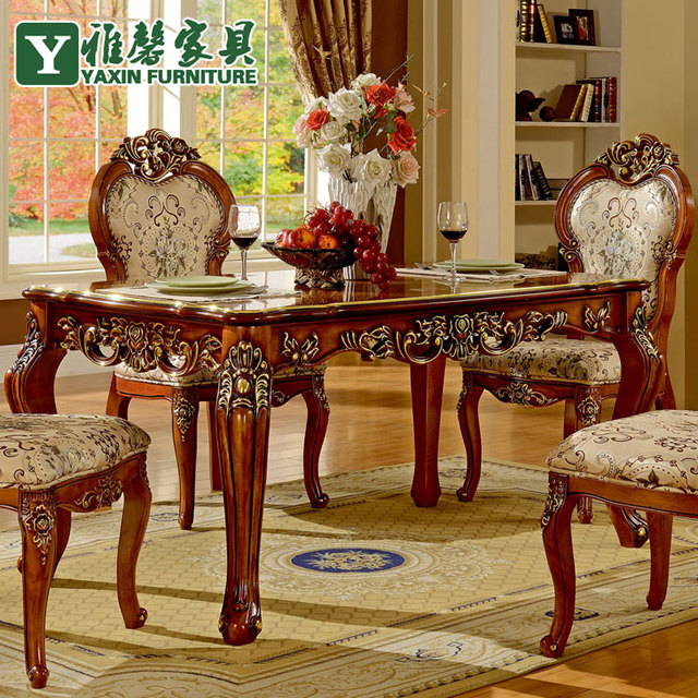 Xin Ya European Antique Wood Dining Table And Chairs