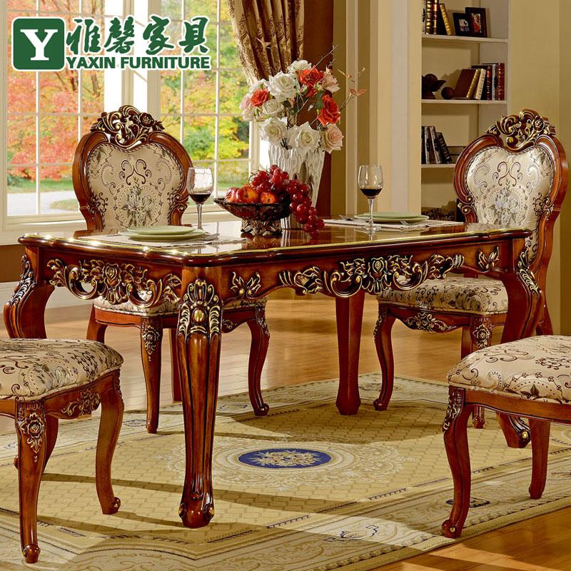 € 3424.18 |Xin ya antiguo Europeo mesa de comedor de madera y sillas  combinación de importados roble tallado a mano mesa de comedor clásico en  ...