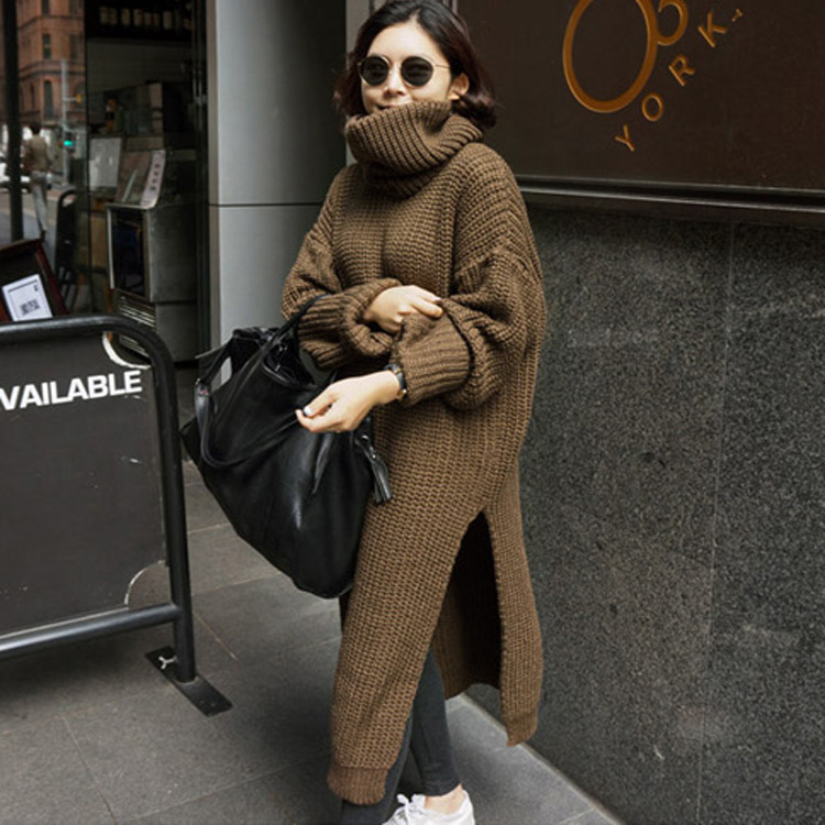 2018 New Pullover Women's Jumper Turtleneck Long Sweater Female Women Warm Sweater Thick Winter Cable Knitted Oversized Sweater