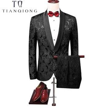 TIAN QIONG Men Black Suits for Wedding Groom 2018 Slim Fit Floral Suit Men Prom Dresses Mens Stage Wear Costume Mariage Homme