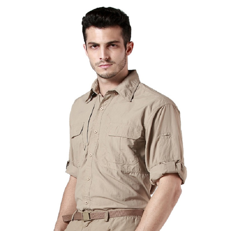 6890b2e76ea9 Out door Brand Summer Shirt Men Quick Dry Breathable Army fans Tactical  Shirt Traveling Long Sleeve Shirts mens clothes-in Casual Shirts from Men s  Clothing ...