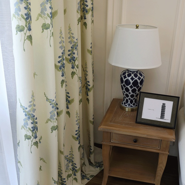 Fresh Curtains For Living Room Bedroom Printing Simple Modern American  Curtains Blue Windflower And Blooming Floral