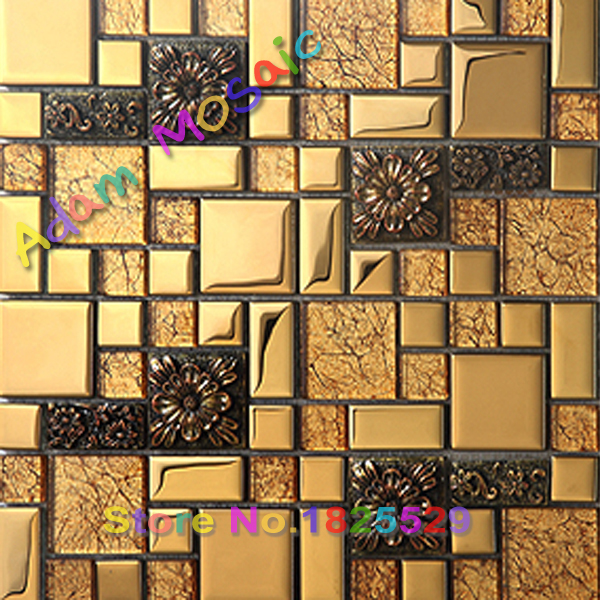 copper glass mosaic plate backsplash tile decorative metal wall ...