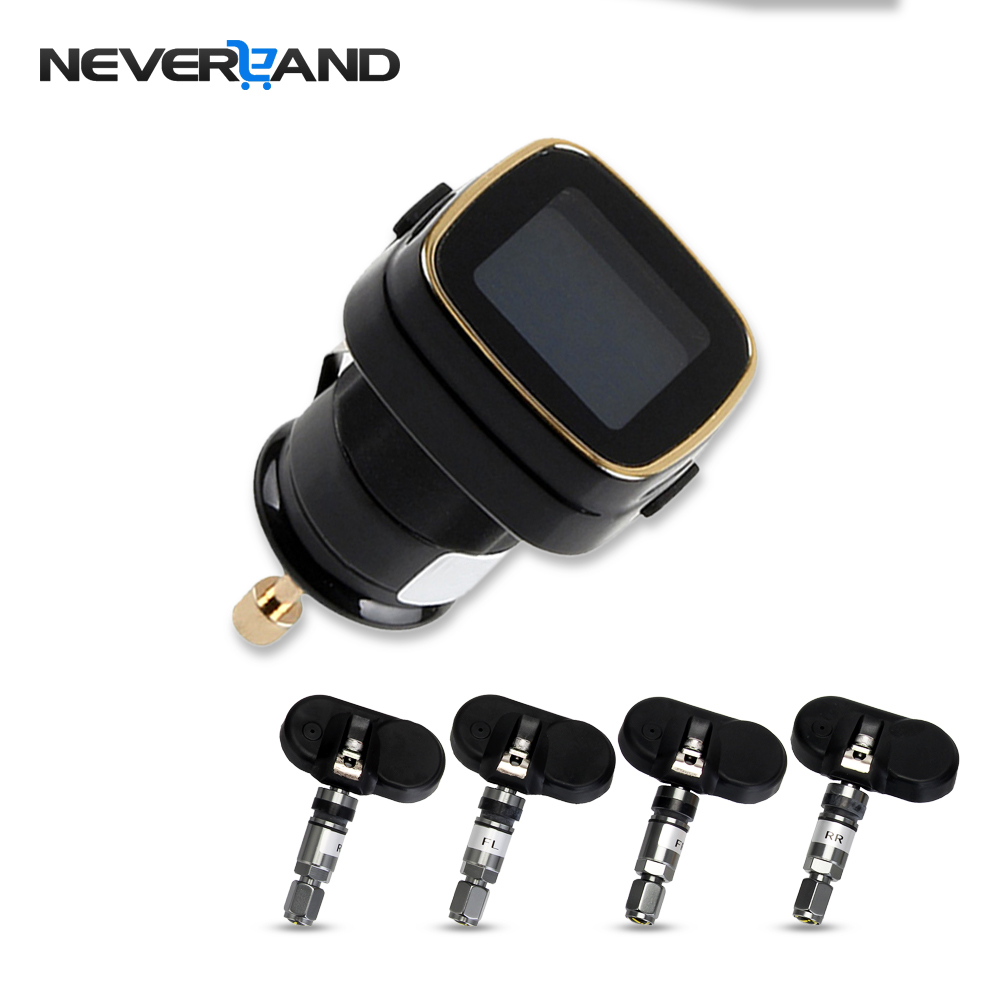 NEVERLAND Wireless Car TPMS Tire Pressure Monitoring System+4 Internal Sensors Cigarette Lighter