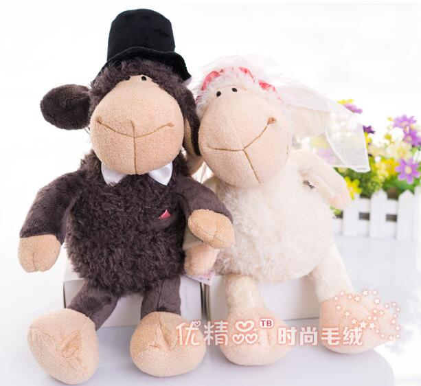 candice guo! Super cute plush toy Nici couple sheep happy wedding dress soft doll creative lover birthday Christmas gift 1pc candice guo cubicfun paper model toy 3d diy puzzle assemble england hms victory boat ship t4019h birthday gift christmas 1pc