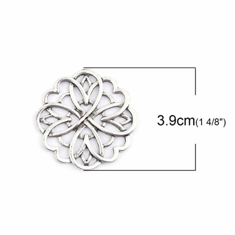 "DoreenBeads โลหะผสมสังกะสี Embellishments ดอกไม้โบราณเงิน Filigree ส่วนประกอบ DIY 39 มม.(1 4/8 "") x 38 มม.(1 4/8 ""),1 ชิ้น"