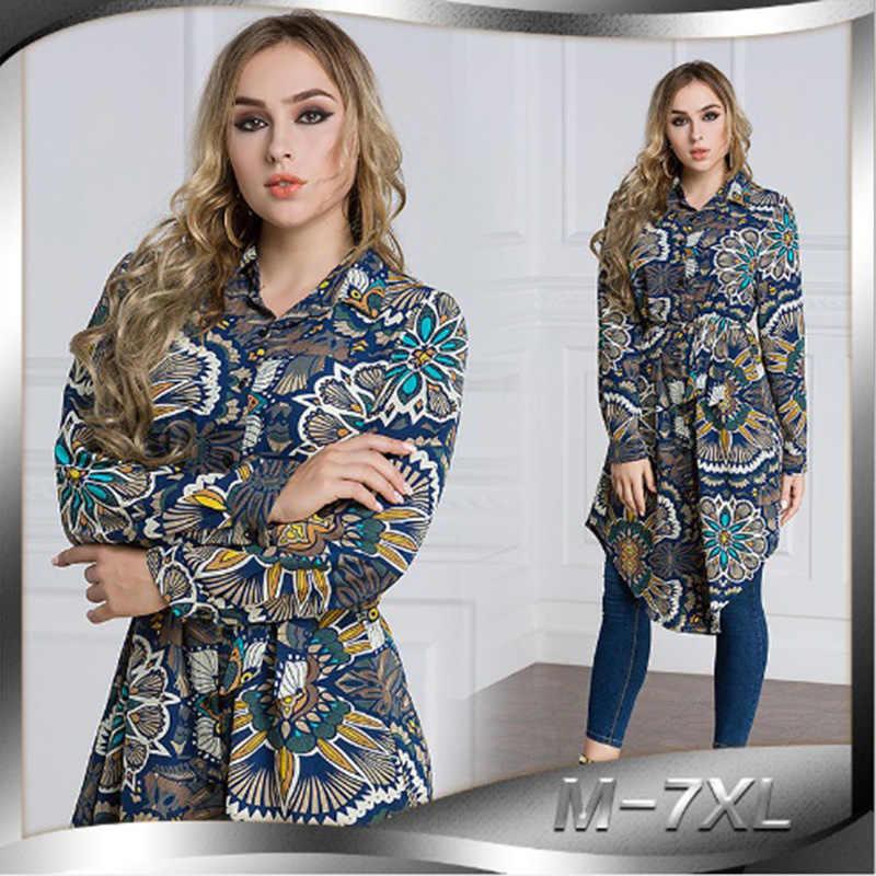 이슬람 블라우스 여성 탑 롱 프린트 셔츠 드레스 abaya 탑 터키 이슬람 라마단 아랍어 두바이 이슬람 의류 플러스 사이즈 6xl 7xl